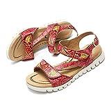 gracosy Sandalias Verano Mujer Estilo Bohemia Chanclas Zapatos para Mujer de Dedo Sandalias Talla Grande Rojo BLU Verde Romanas de Hecho a Mano Los Tacones Bajos Plano Zapatos