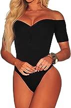 Ancapelion Women's Off Shoulder Short Sleeve Bodysuit Sexy Stretchy Bodycon Top