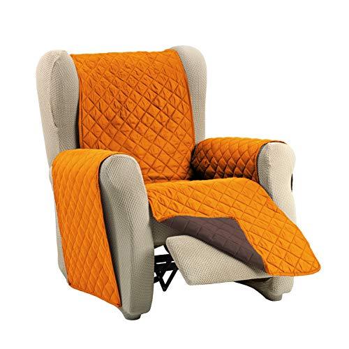 Martina Home Martina Dual Cover Cubre Sofá Acolchado Reversible, Naranja / Marron, 1 Plaza