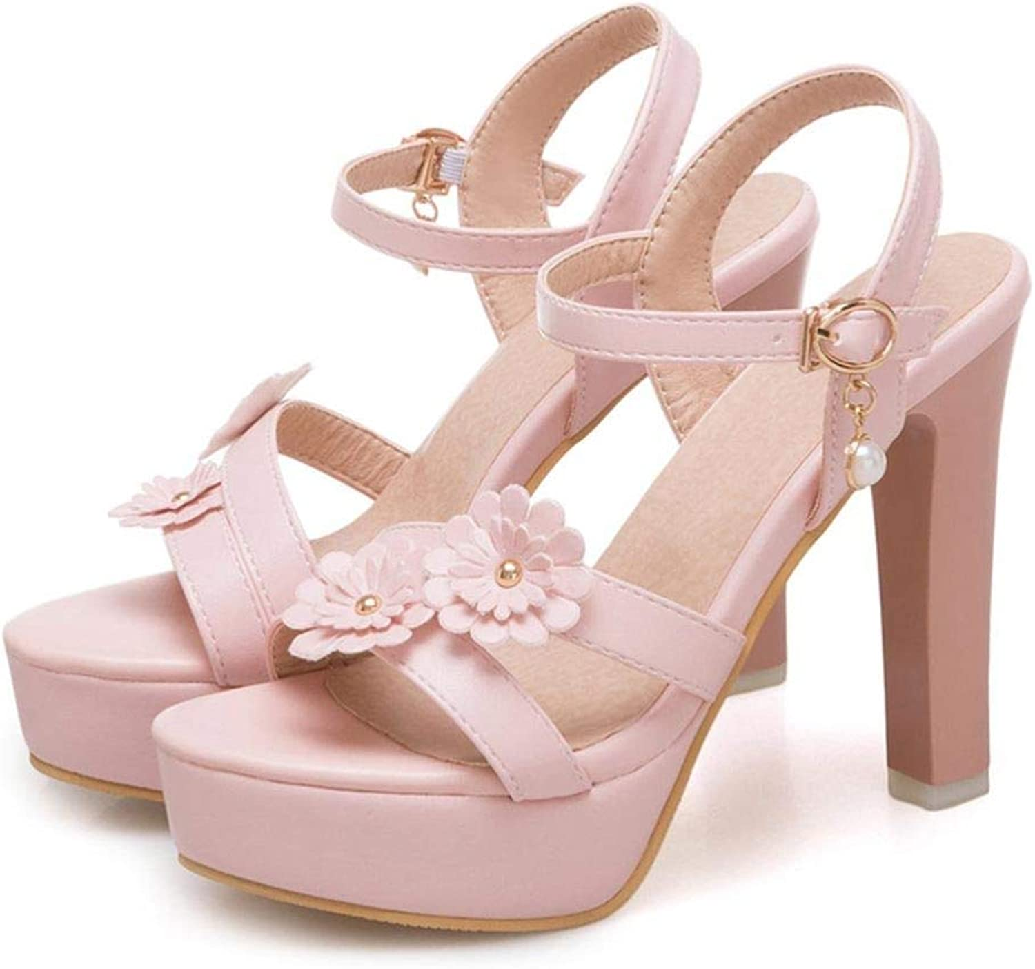 LVYING Womens Fashion Thick High Heels Sexy Sandals Summer Sweet Flower Party Dress shoes