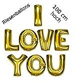 DekoRex  I Love You Riesenballons Folienballons Buchstabenballons Heliumballons in Gold 100 cm hoch