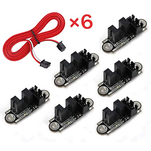 MakerHawk 6pcs Optical Endstop with 1M Cable Optical Switch Sensor Photoelectric Light Control Optical Limit Switch Module for 3D Printer