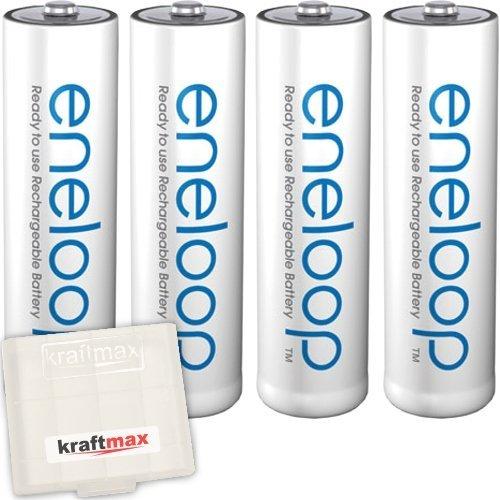4er Pack Panasonic Eneloop AA/Mignon Akkus - Neueste Generation - Hochleistungs Akku Batterien in Kraftmax Akkubox V5