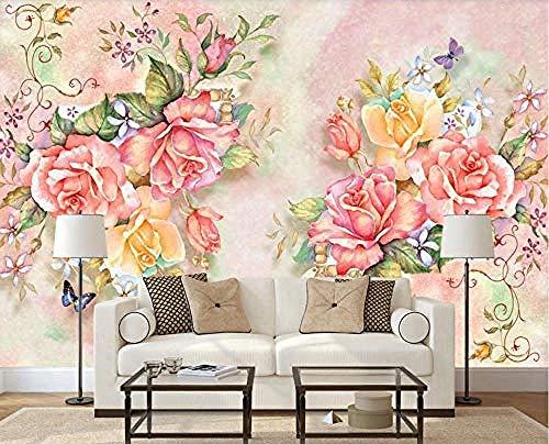 Papel pintado de rosas de jardín pintado a mano murales de pared Pared Pintado Papel tapiz 3D Decoración dormitorio Fotomural de estar sala sofá mural-430cm×300cm