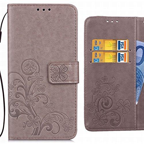Ougger Handyhülle für Huawei Honor 6C Pro Tasche Glückliche Blätter Beutel Brieftasche Schutzhülle PU Leder Weich Magnetisch Silikon TPU Cover Schale für Huawei Honor 6C Pro mit Kartenslot (Grau)