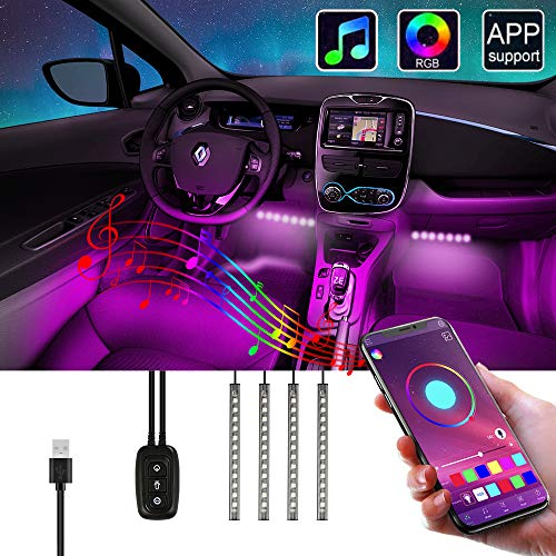 Auto LED Innenbeleuchtung, opamoo RGB Auto LED Strip APP Steuerbare Sprachsteuerung Auto Innenraumbeleuchtung wasserdicht mehrfarbig Musik LED Atmosphäre Licht mit Zwei-Linien-Design, USB-Port