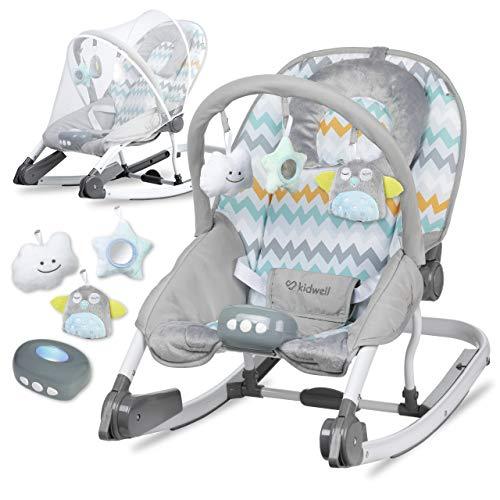 KIDWELL TUMI Multifunktional Babywippe 2in1 | Liege mit Spielbogen & Vibration & Melodien & Licht | ab Geburt bis 18 kg verwendbar | Moskitonetz im Set | Zickzack-Muster
