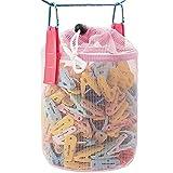 Generic Bolsa para pinzas de la ropa de malla, se puede colocar al aire libre, cesta para pinzas de la ropa, organizador de almacenamiento, ventilación y resistencia a la humedad (rosa).