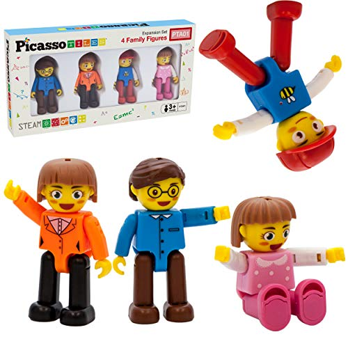 PicassoTiles Magnetic 4 Family Action Figures Toddler Toy Magnet Expansion Pack Educational Add-on STEM Learning Kit Toys Pretend Playset for Construction Building Block Tiles Child Brain Development