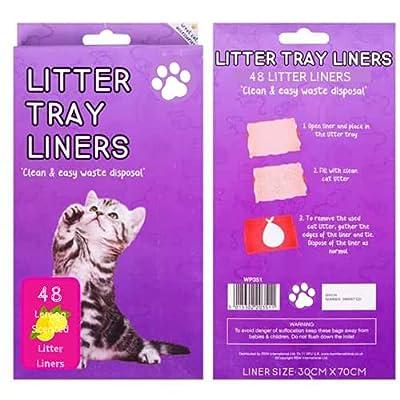 48 Lemon Scented Cat Litter Tray Liners Scratch Resistant Bags For Cat Litter Box- Litter Tray Liner - Cat Litter Bags 70 x 30 cm large