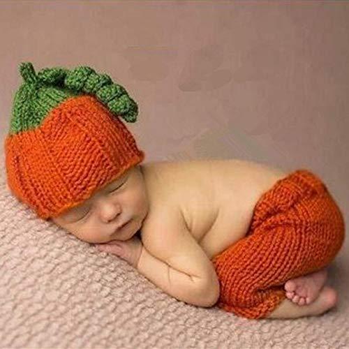 PZNSPY Recién nacido Niño Niña Lindo Halloween Calabaza Crochet Fotografía Atrezzo Infantil Unisex Bebé Foto familiar Trajes de sesión de fotos Ropa, naranja, 0,1 meses