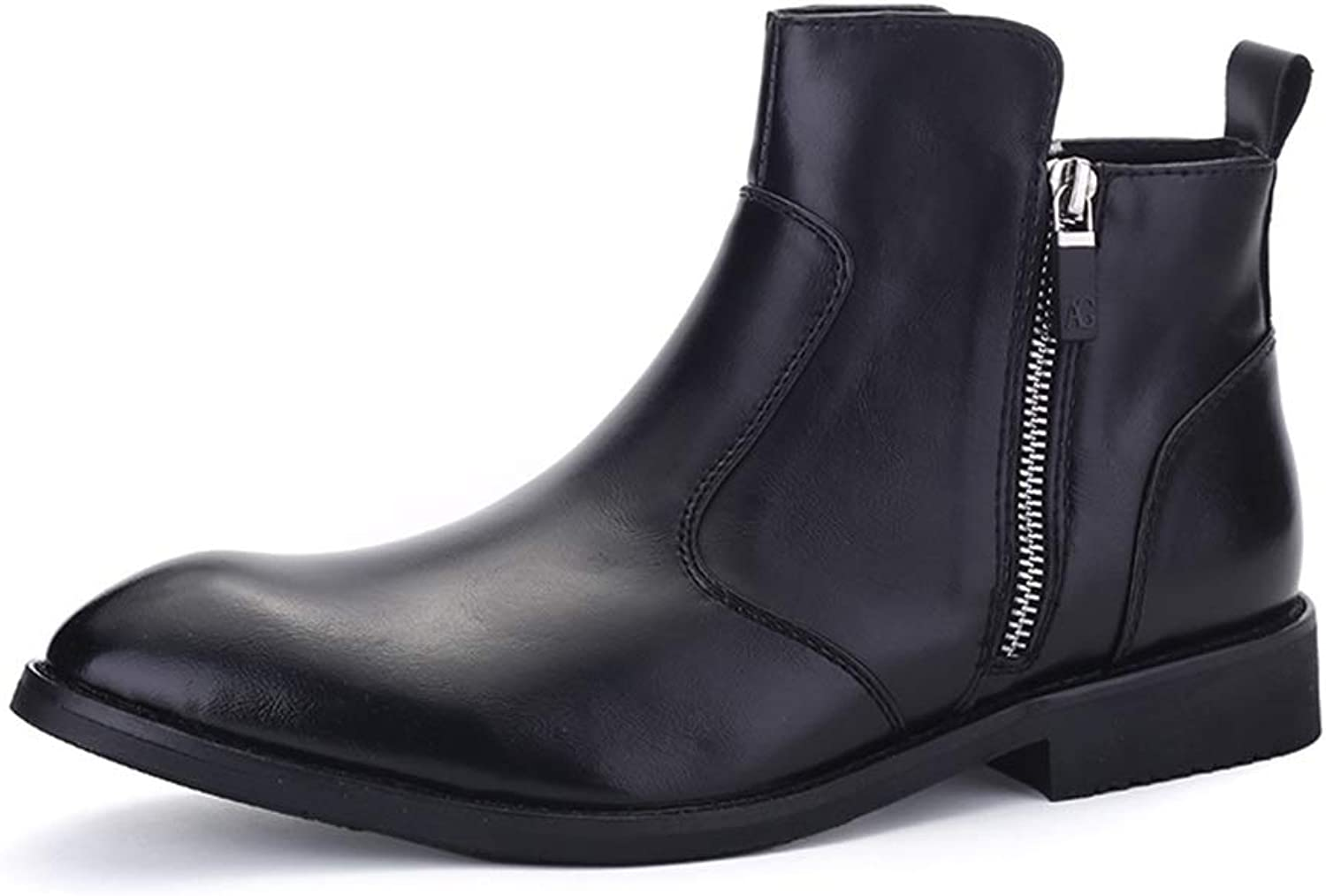 Mens shoes Comfortable Men's shoes PU Leather Chelsea Rain Boots Casual High Top Flat Ankle Boots Waterproof Zipper Anti-Slip Round Toe Slip On