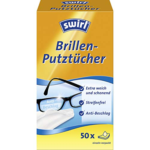 Swirl Brillen-Putztücher - alkoholhaltige feuchte Brillenreinigungstücher mit Anti-Beschlag-Effekt für klare Sicht, 4 x 50 Stück