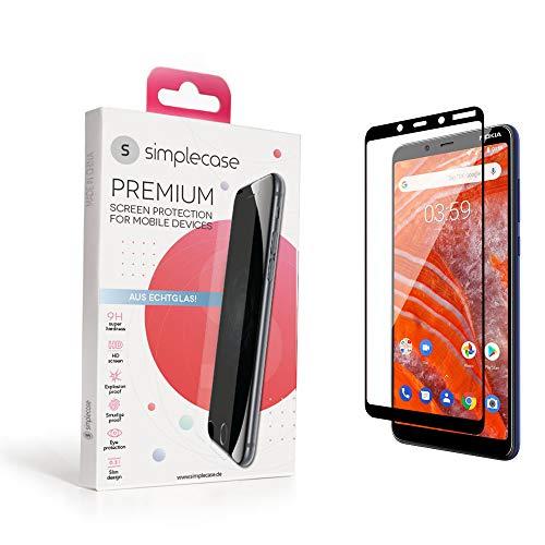 Simplecase Panzerglas passend zu Nokia Nokia 3.1 Plus , FULL SCREEN Premium Bildschirmschutz , 100prozent Abdeckung , Optimaler Schutz , Extra Festigkeitgrad 9H , Schwarz - 1 Stück