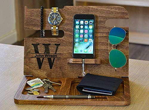 Personalized Wood Docking Station Men's iPhone Wallet Apple Watch Station Custom Anniversary Boyfriend Christmas Corporate Gift