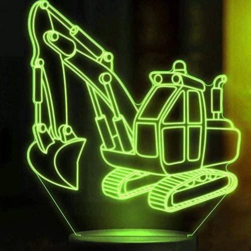 Jinson well Excavadora 3D para camiones, tractores, lámpara óptica, luz nocturna con 7 cambios de color, interruptor táctil, mesa de escritorio, lámpara decorativa con USB, juguete acrílico