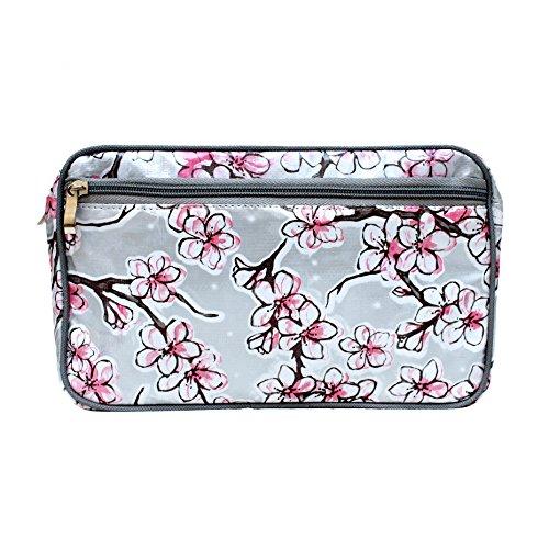 Wasserabweisende Kosmetiktasche, Kulturtasche, Waschtasche, für Reise und Urlaub, aus Wachstuch Hanami Silber, Handarbeit