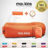 Mockins Orange Inflatable Lounger Hangout Sofa Bed with Travel Bag Pouch The Portable Inflatable Couch Air Lounger is Perfect for Music Festivals and Camping Accessories Inflatable Hammock … … …