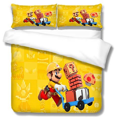 Zbeiba 3D Super Mario Bedding Set,2/3pieces Kids Bedding Set 100% Polyester (Duvet Cover + Pillowcase),#10,single duvet cover,135 * 200cm, Pillowcase 50x70cm