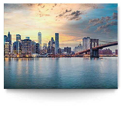 BilderKing Intensiv & Impostant 200x150cm großes Leinwand-Bild. Skyline, New York, USA als Wandbild auf 4cm tiefen Keilrahmen. Eindrucksvoller können Sie Ihren Raum Nicht in Szene setzen