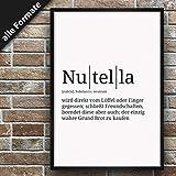 Definition: Nutella | DIN A4 | Premium Spruch-Poster für Küche Wohnzimmer oder WG | Kunstdruck...