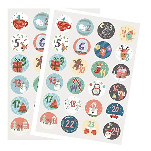 Kesoto 2 Sheets Advent Calendar Number Stickers 1-24 Cute Christmas Calendar Stickers for Crafting Christmas DIY Labels