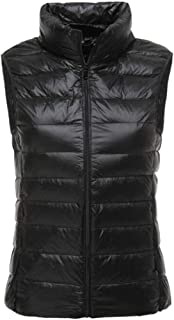 Womens Packable Lightweight Stand Collar Puffer Vest Jacket Coat with Pocket