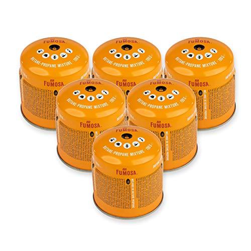 FUMOSA Stechkartuschen Set für Campingkocher, Lampen und Lötbrenner, 190g - 6 Kartuschen