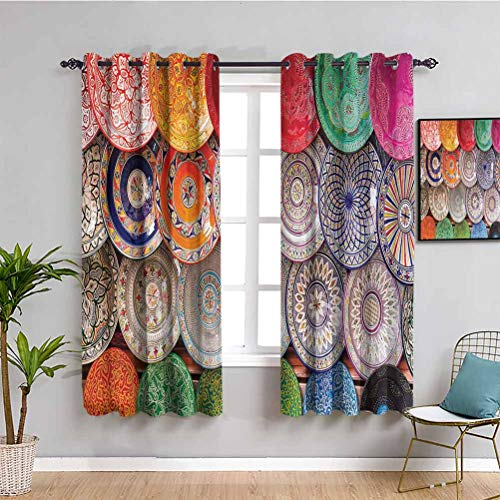Moroccan Decor All Season Insulation Curtain Traditional Arabic Handcrafted Maintain Good Sleep Colorful Plates Shot at The Market in Marrakesh W72 x L72 Inch