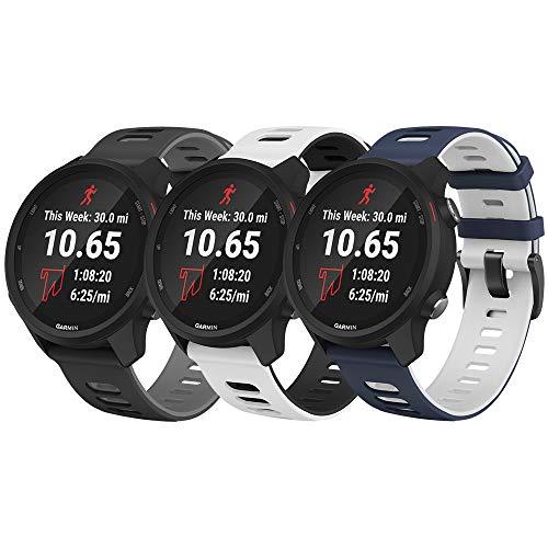 NotoCity per Garmin Vivoactive 3 Cinturino, 20mm Cinturino di Ricambio in Silicone per Samsung Galaxy Active 2 /Gear Sport/Galaxy Watch 42mm/ Garmin Forerunner 645/245(3PCS2
