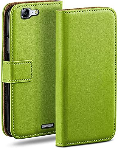 moex Klapphülle für Huawei Ascend G7 Hülle klappbar, Handyhülle mit Kartenfach, 360 Grad Schutzhülle zum klappen, Flip Hülle Book Cover, Vegan Leder Handytasche, Grün