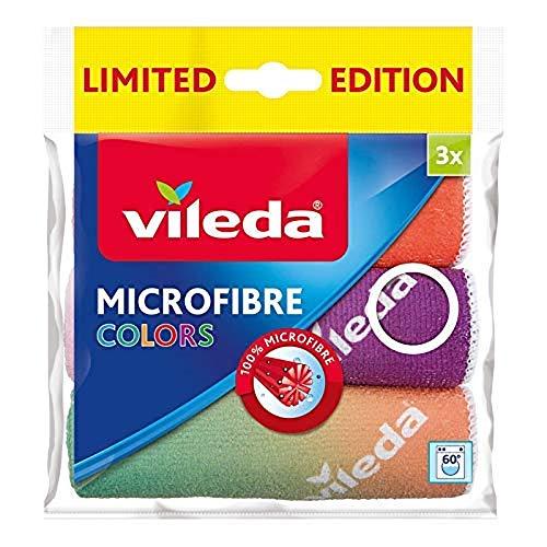 Vileda Colors Design III multifunctionele doek, microvezel, verschillende kleuren, verpakking van 3 stuks