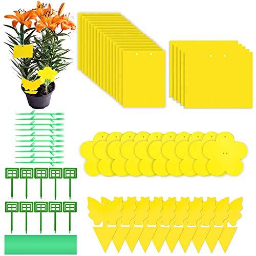 Evance 40 Stücke Gelbsticker Dekor, Gelbtafeln Klebrige Insektenfallen Dekorative Leimfalle, Große Klebefläche, Doppelseitige Fliegenfänger Sticker(Gelb)