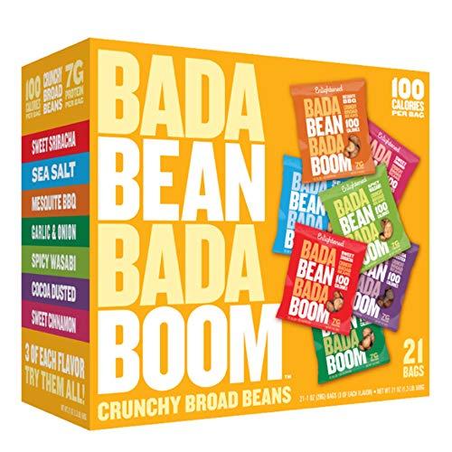 Bada Bean Bada Boom - Plant-Based Protein, Gluten Free, Vegan, Crunchy Roasted Broad (Fava) Bean Snacks, 100 Calories per Serving, Snacker Box, 1 oz, 21 Pack
