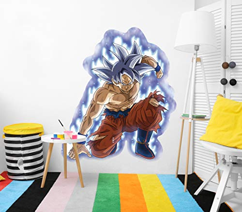 Vinilo de Pared Tamaño Real Dragon Ball Super Goku Ultra Instinto Producto Oficial | 111x130 cm |Vinilo para Paredes | Producto Original | Vinilo Adhesivo | Mural | Decoración Hogar | DBS