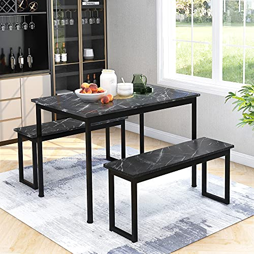 Kitchen Dining Table and 2 Bench Set, Garden Bench Home Furniture Set Dining Room Furniture, Solid Wooden & Sturdy Metal Frame Industrial, Black