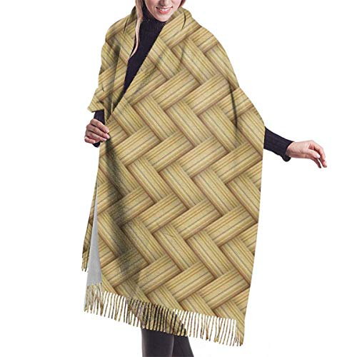 Hdadwy Mimbre Moda para mujer Chal largo Talla grande Invierno Cálido enrejado Bufanda grande
