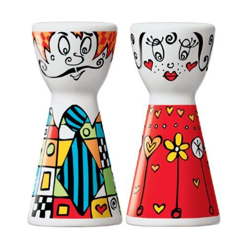 Ritzenhoff Mr. Salt & Mrs. Pepper Salz- und Pfefferstreuer, Kristallglas, Bunt, 3.6 cm
