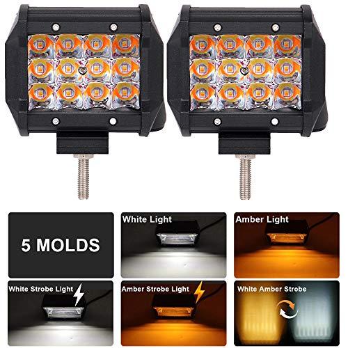 LED Lichtleiste 4 Zoll Willpower 36W 3600lm Spot Zweifarbige LED Pods Strobe LED Arbeitsscheinwerfer Blitzlichter Driving Nebelscheinwerfer White & Amber Offroad Lichter für LKW Boot, 2 Pack