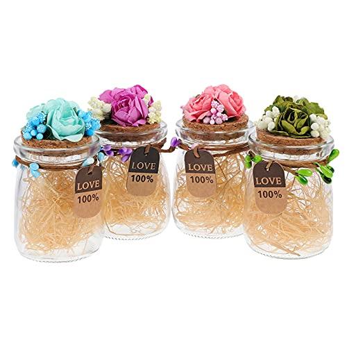HEMOTON 4 Unidades Pequeñas Botellas de Vidrio con Tapón de Corcho Tarro de Cristal con Flores Y Etiquetas de Regalo Envases Transparentes para Almacenar para Proyectos de Artesanía