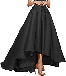 Best black satin high low skirt Reviews