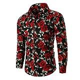 Camisas de Vestir de Manga Larga con Estampado Floral de Rosas de otoño e Invierno para Hombre Camisas con Botones de Fiesta de graduación y Bodas XXL