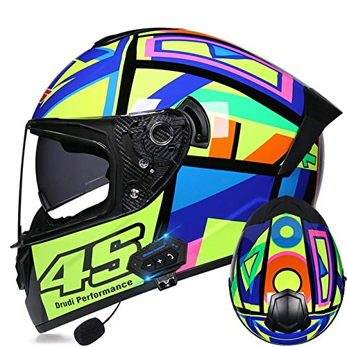 CDEAS Motorcycle Modular Bluetooth Helmet,Bluetooth Integrated Modular Helmet DOT Certified Helmet Built-in Mp3 FM Broadcast Integrated Intercom Communication System,59-60cm