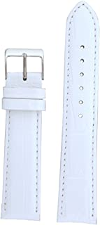 Watch Band Extra Long Crocodile Grain White Stitching Padded 18 Millimeter