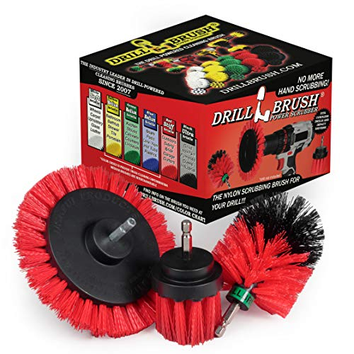 Drillbrush Red Stiff 3 Piece Outdoor Power Scrubber Brush Kit - Garden, Patio, and Deck Cleaning – Drill Brush Attachments for Scrubbing Concrete, Brick, and Stone