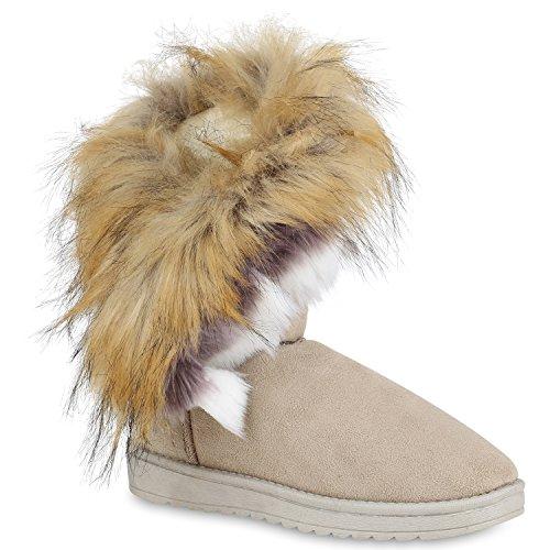 Damen Schuhe Schlupfstiefel Kunstfell Warm Gefütterte Stiefel Winter 153122 Creme 38 Flandell