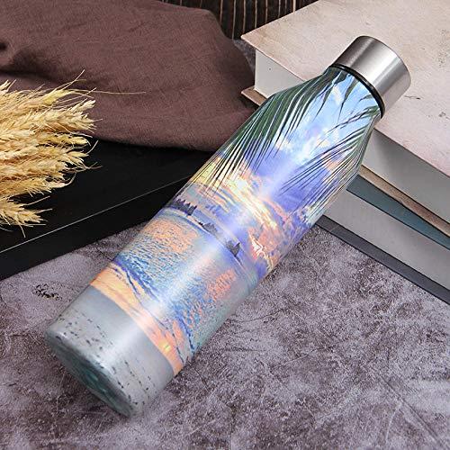 Jusemao Botella de agua de aislamiento al vacío de acero inoxidable de la moda de los deportes al aire libre a prueba de fugas de aislamiento taza 500ml-four_500ml