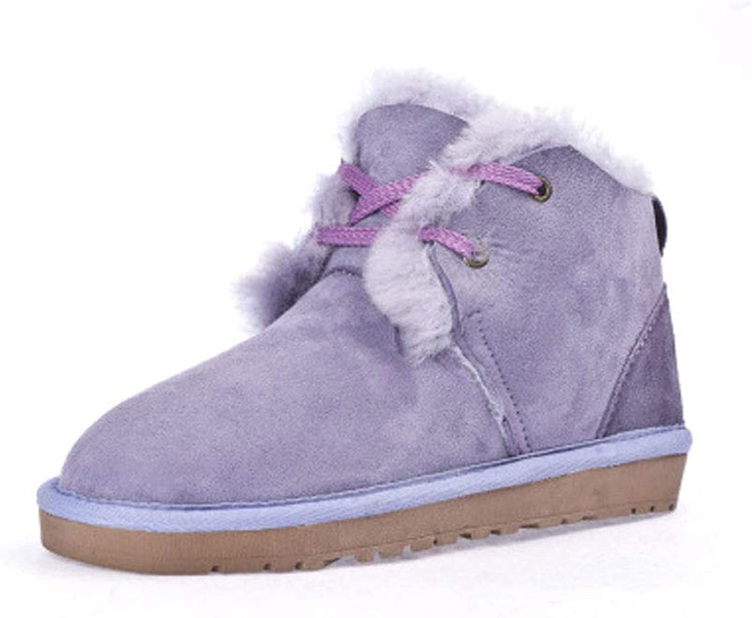 Ailj Snow Boots, Ladies Outdoor Leather Fluff One Booties Non-Slip Warm Boots Winter Cotton Boots (3 colors) (color   Purple, Size   35 EU 4 US 3 UK 22)