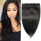 20cm - Extensiones de Clip de Cabello Natural [1 Piezas 5 Clips] 1# Negro Azabache Pelo Humano 100% Remy Human Hair Lisas Postizos Pelucas para Mujer-40g