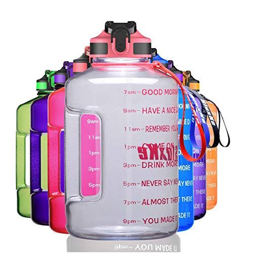 SLUXKE Gallon Water Bottle Jug BPA Free, 128oz Huge Water Bottle with Time Marker and Straw, Leak Proof Big Daily Water Intake Bottle Clear Pink
